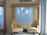 Cornice w Drapery side panels over Silhouette Shades