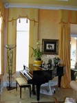 Lambrequins, Cornice & Drapery side panels over Silhouette Shades