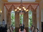 Moroccan style Upholstered Cornice over Drapery