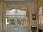 Upholstered Cornices w Jabots & sheer Roman Shades
