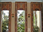 Upholstered Lambrequins w motorized Roman Shades open