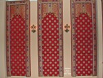 Upholstered Lambrequins w motorized blackout Roman Shades