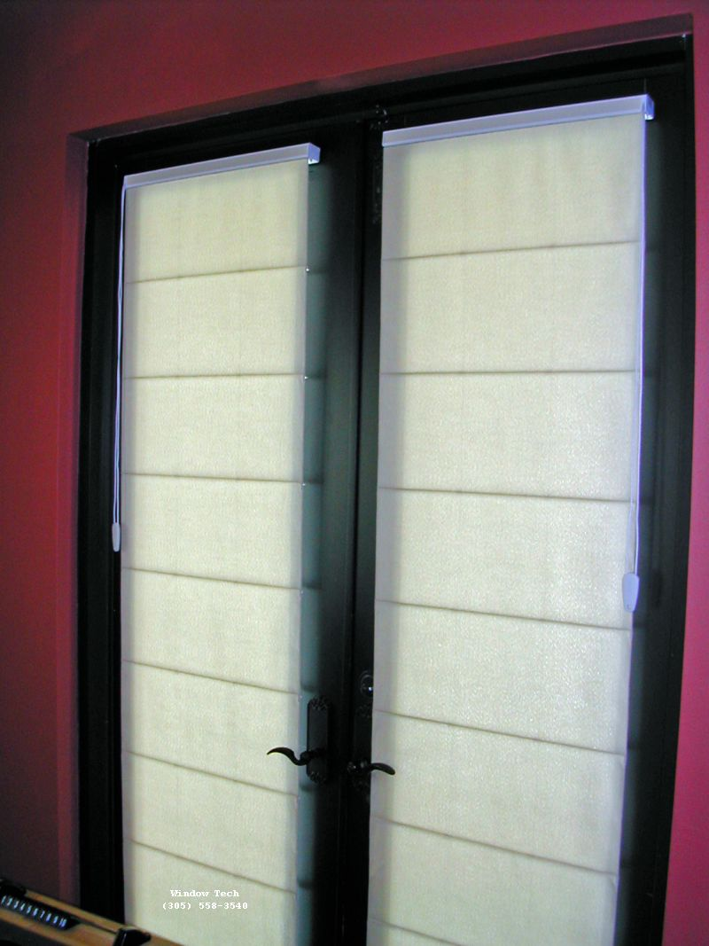Window treatments for french doors casual cottage for Door window shades blinds
